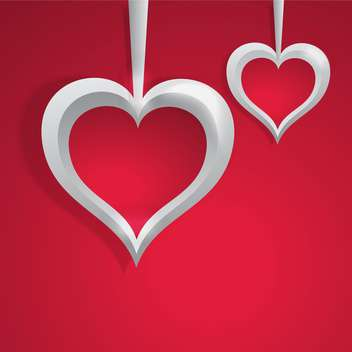 Vector background with white hearts on red background for valentine card - vector gratuit #126022