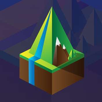square maquette of mountains on dark blue background - бесплатный vector #126192