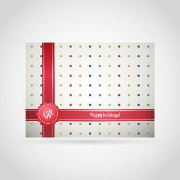 Vector background of gift box with colorful dots and red ribbon on white background - Free vector #126242