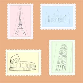 Vector illustration of travel postage stamps on brown background - vector #126252 gratis