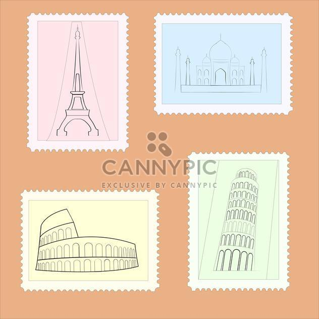 Vector illustration of travel postage stamps on brown background - Free vector #126252