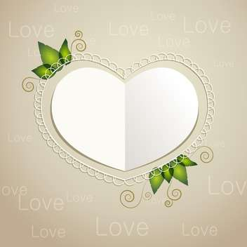 Vector heart shaped paper card with leaves on grey background - Free vector #126292