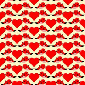 Vector illustration of birds with red hearts in love for valentine card - vector gratuit #126332