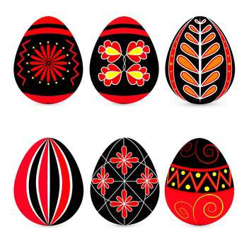 Vector set of easter eggs with traditional ornate on white background - Free vector #126352
