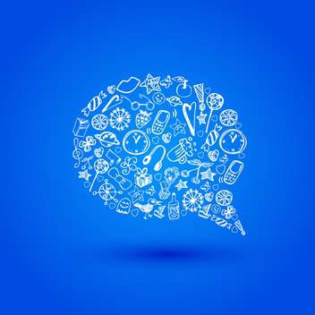 Vector speech bubble made of objects on blue background - vector gratuit #126362