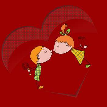 Vector illustration of two kids kissing each other on red background - vector gratuit #126382