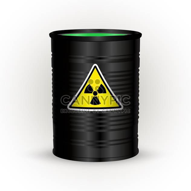 Vector illustration of black metal barrel with nuclear waste on white background - Free vector #126402