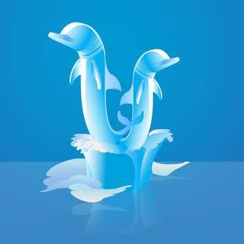 Vector illustration of two jumping dolphins in water on blue background - Free vector #126422