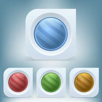 vector set of colorful round web buttons on blue background - vector #126432 gratis