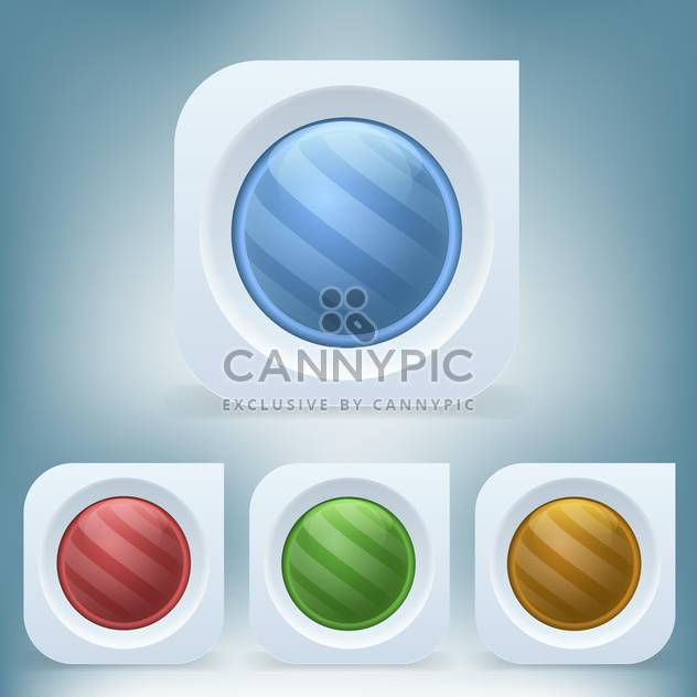 vector set of colorful round web buttons on blue background - Free vector #126432
