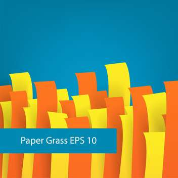 colorful illustration of paper grass on blue background - vector gratuit #126572