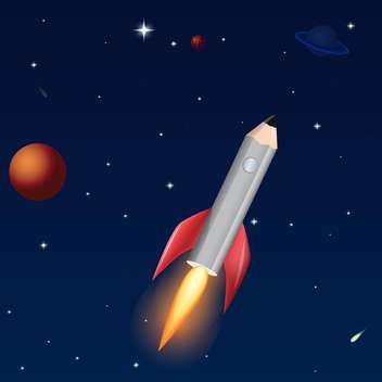 Vector illustration of pencil rocket on dark blue sky background with stars - vector gratuit #126582