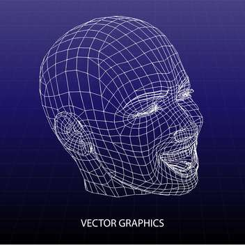 vector model of human face on blue background - vector #126602 gratis