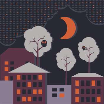 Vector background with houses at night time - Free vector #126702