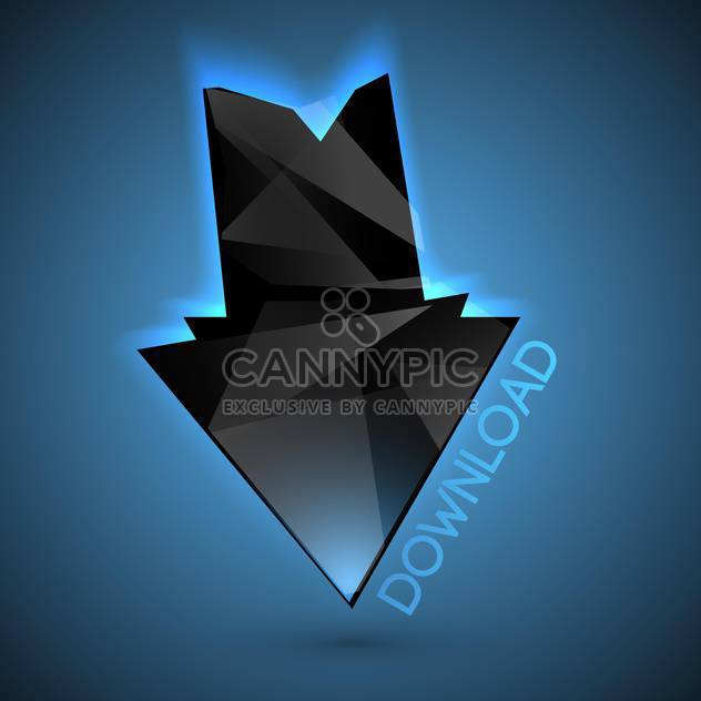 Vector black download arrow on blue background - Free vector #126712
