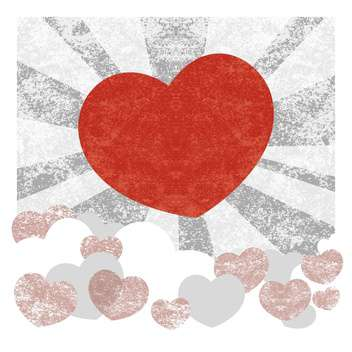 grunge vector background with big red heart - vector gratuit #126832