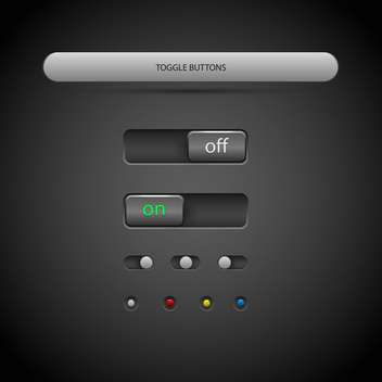 Vector illustration of toggle buttons on dark background - Free vector #126932