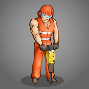 Vector illustration of cartoon worker on grey background - vector gratuit #126962