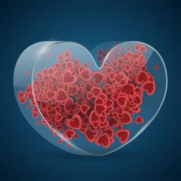 Vector Valentine blue background with red hearts - vector gratuit #126972