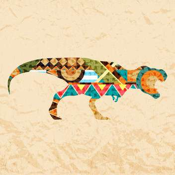 tyrannosaurus dinosaur composed from colored patches on brown background - Kostenloses vector #126982