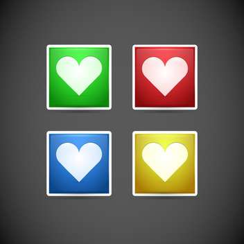 Vector set of buttons with colorful hearts on dark background - vector gratuit #127052