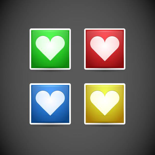 Vector set of buttons with colorful hearts on dark background - бесплатный vector #127052