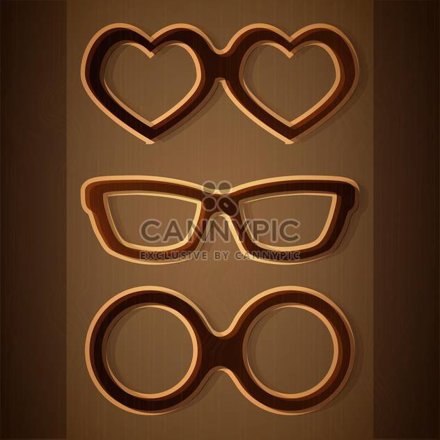 Vector set of glasses on brown background - Free vector #127072