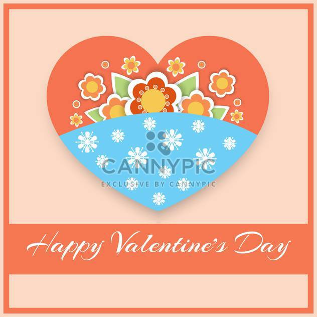 Vector greeting card with floral heart for Valentine's day - Free vector #127082