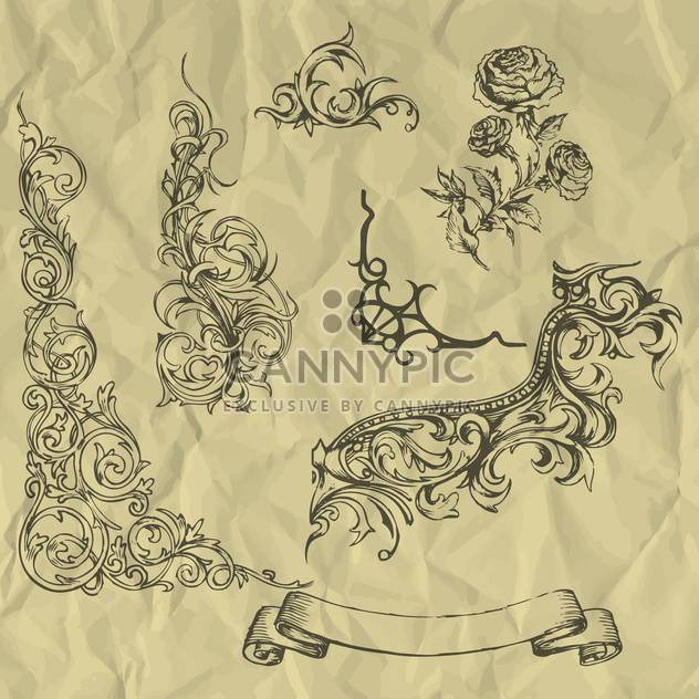 Vector vintage floral elements on crumpled paper - Free vector #127262