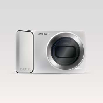 Vector illustration of silver camera on grey background - Free vector #127282