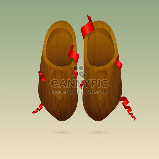 colorful illustration of dutch wooden shoes - Free vector #127292