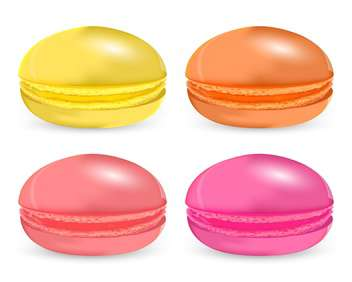 Vector set of colored macaroon on white background - Free vector #127302