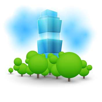 colorful illustration of green landscape with skyscraper - vector gratuit #127322