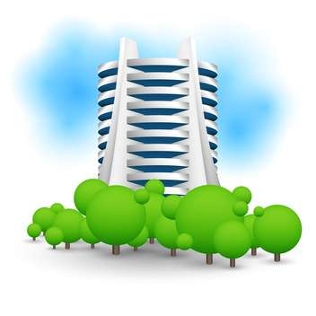 colorful illustration of green landscape with skyscraper - vector gratuit #127342