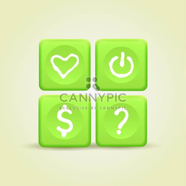 Vector set of green color web site icons - Free vector #127352