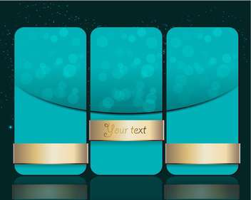 Vector set of blue banners with gold ribbons - vector gratuit #127392