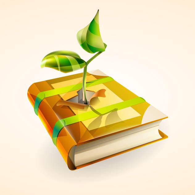 Vector illustration of green plant growing in book on pink background - vector gratuit #127402