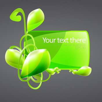 green banner with plant and text place on grey background - vector gratuit #127432