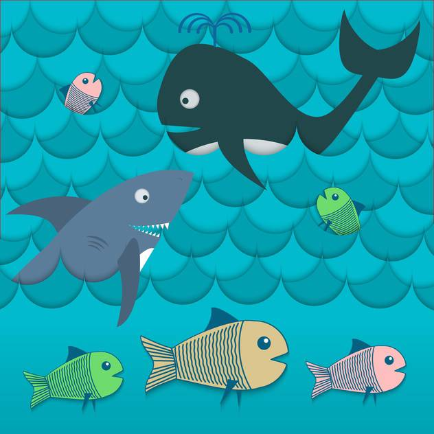 colorful illustration of different fishes in sea waves - Free vector #127442