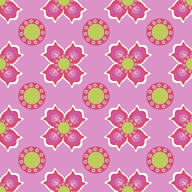 Seamless flower pattern on pink background - vector #127472 gratis