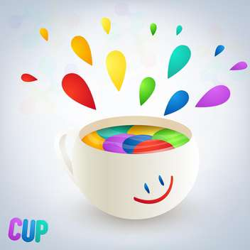 colorful burst from cup with smile on white background - vector gratuit #127482
