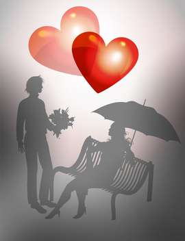 Illustration young couple on bench for valentine card - vector gratuit #127512