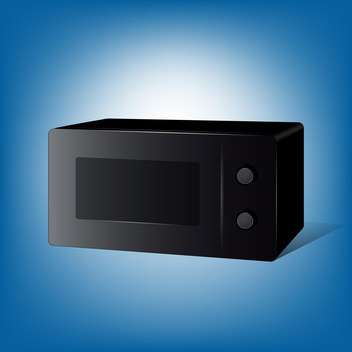 Vector black color microwave stove on blue background - vector gratuit #127542