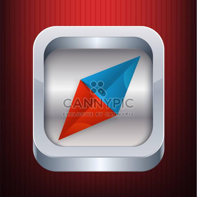 Vector compass icon on red background - Free vector #127562