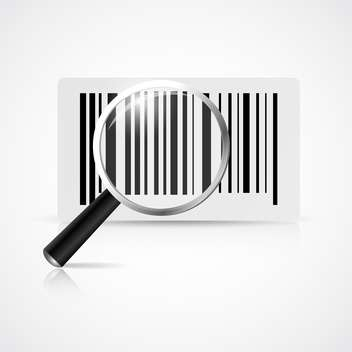 Vector illustration of magnifying glass with barcode on white background - Free vector #127632