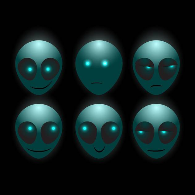 Set of vector alien faces on dark background - vector #127672 gratis