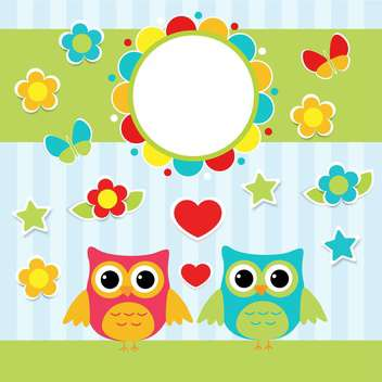 colorful illustration with cartoon couple of cute owls ans flowers - бесплатный vector #127712
