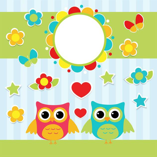 colorful illustration with cartoon couple of cute owls ans flowers - vector gratuit #127712
