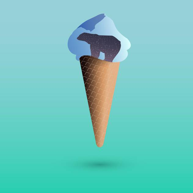Vector illustration of ice cream with polar bear - Free vector #127722