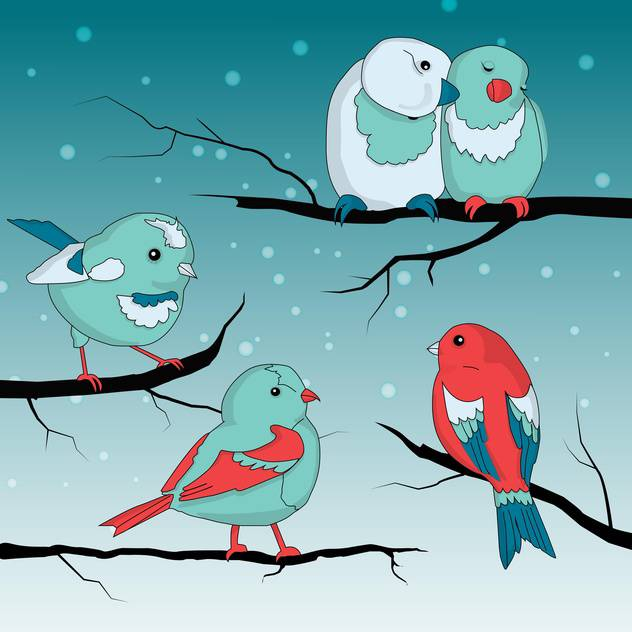 Cute little sparrows on wintry braches - vector gratuit #127842